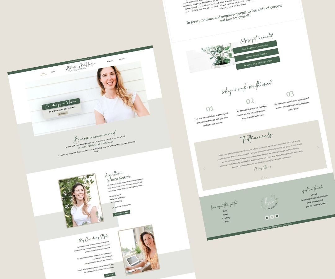 Bridie McHaffie Life Coach Web Design Layout